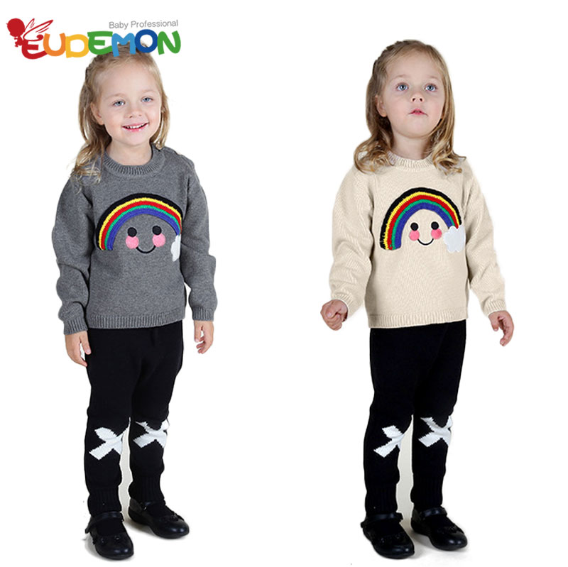 [Eudemon] Children winter-clothing baby girl sweater Rainbow smaile kids Girls boys outerwear Autumn sweater baby toddler(China (Mainland))