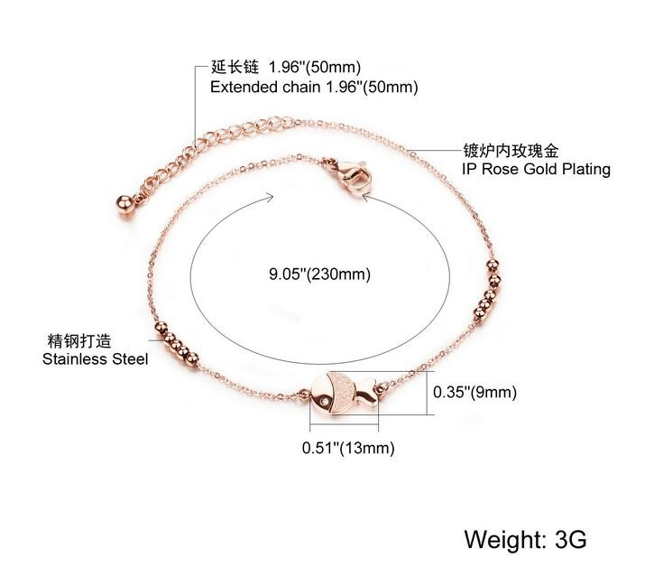 Fish Design Rose Gold Plated Stainless Steel Women Anklet, Ladies Foot Chian Ankle Bracelet Jewelry Accessories,GZ014