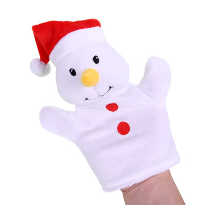 hand puppet Christmas snowman glove puppet plush bear finger puppet toy hand puppets for kids story toy fantoches de dedo 1pcs(China (Mainland))