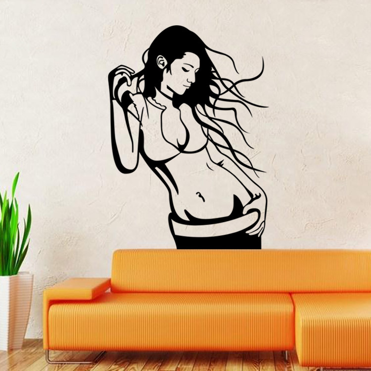 2016 new 3D figures beautiful girl PVC removable living room bedroom decorative wall stickers house decor free shipping WS9381(China (Mainland))
