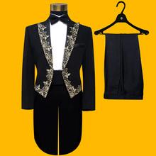 2016 new style black Tuxedo Suits slim Magic garbage royal marriage male singer performance laciness tuxedo formal dresses(China (Mainland))