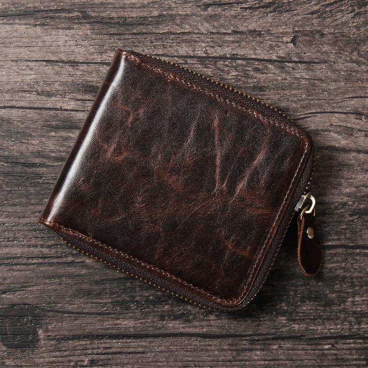 Vintage Casual 100 Genuine Crazy Horse Leather Cowhide Men Male Zipper Short Wallet Wallets Purse Coin