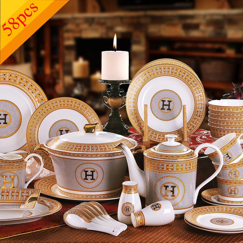 "Porcelain dinnerware set bone china ""H"" mark mosaic design outline in gold 58pcs dinnerware sets dinner set coffee sets gifts(China (Mainland))"