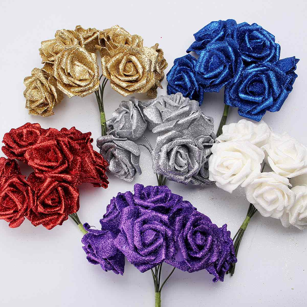 Charming Wedding Bridal Flower Bouquet 7 Heads/Bunch Foam Glitter Artificial Rose Flowers Party Home Decoration Favor(China (Mainland))