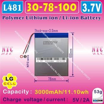 [L481] 3.7V,3000mAH,[3078100] PLIB;polymer lithium ion / Li-ion battery (LG cell) for tablet pc,power bank,e-book,onda,cube,pipo