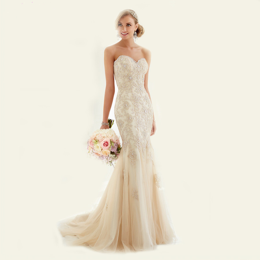 Online buy wholesale champagne colored mermaid wedding for Champagne colored wedding dress