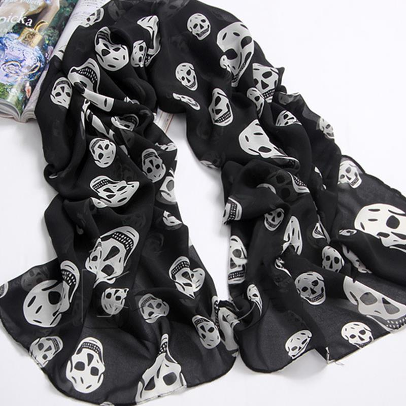 New fashion women skull shawl scarves brand Chiffon scarves for female ladies unique scarfs cachecol(China (Mainland))