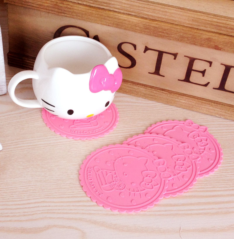 5 Pcs/ set Home Table Cup Mat Creative Decor Coffee Drink Placemat table KT cat lovely version Drinks Coasters ^(China (Mainland))