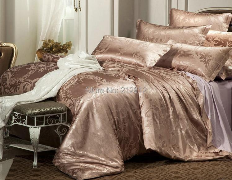 Home Textile luxury Brown silk Jacquard Floral designer's beddings set wedding decoration bed sheet/duvet cover set king/queen(China (Mainland))