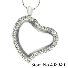 2016 New 1 pcs 30mm Multi styles side Heart magnetic glass floating charm locket Zinc Alloy Rhinestone necklace(with free chain)(China (Mainland))