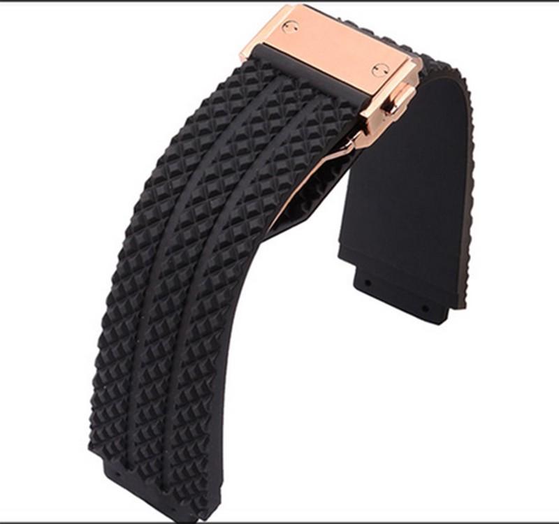 Черный ремешок для часов силиконовой резины 26 мм луг 19 мм для бренда часы специальные с серебряной золотая роза золотой пряжкой развертывания горячая