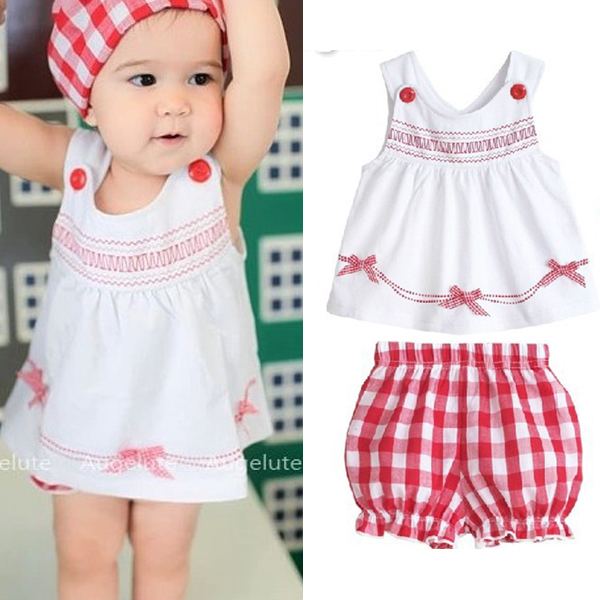 Toddler Baby Kids Girl Tops +Shorts +Hat Outfits 3pcs Set Sleeveless Costume 1-3Y