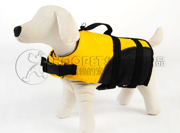 pet dog clothing yellow Lifejacket Dogs Clothes swimsuit doggy safety swimwear pets accessories 1 pcs/lot S M L(China (Mainland))
