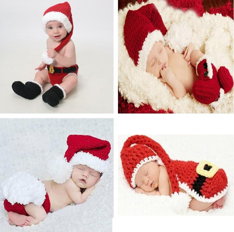 Retail Crochet Christmas Costume Hat&Diaper/Pants Set Newborn Baby Photo Props Toddler Santa Photography Props 1set MZS-14032(China (Mainland))