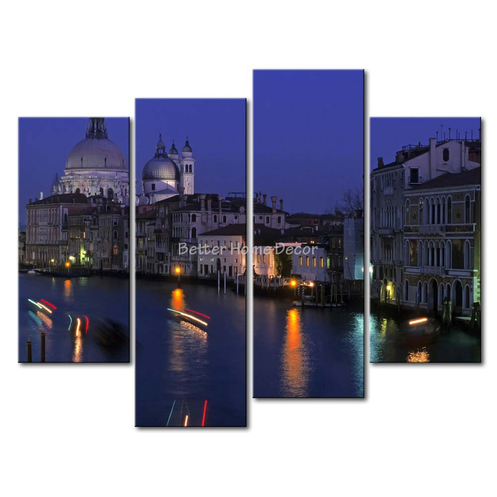 3 Piece Blue Wall Art Painting Grand Canal By Sea In Night In Venice Print On Canvas The Picture City 4 5 Pictures(China (Mainland))