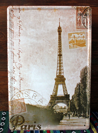Vintage Eiffel tower of pairs retro Art wall sticker House Cafe Restaurant iron Painting 20*30 CM wall Decor Metal Painting(China (Mainland))