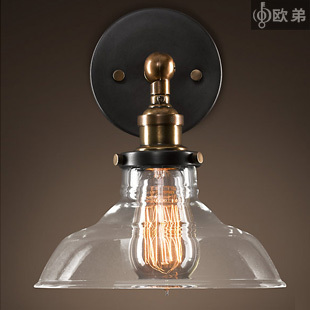 Lighting vintage glass wall lamp american style antique bedside glass wall lamp
