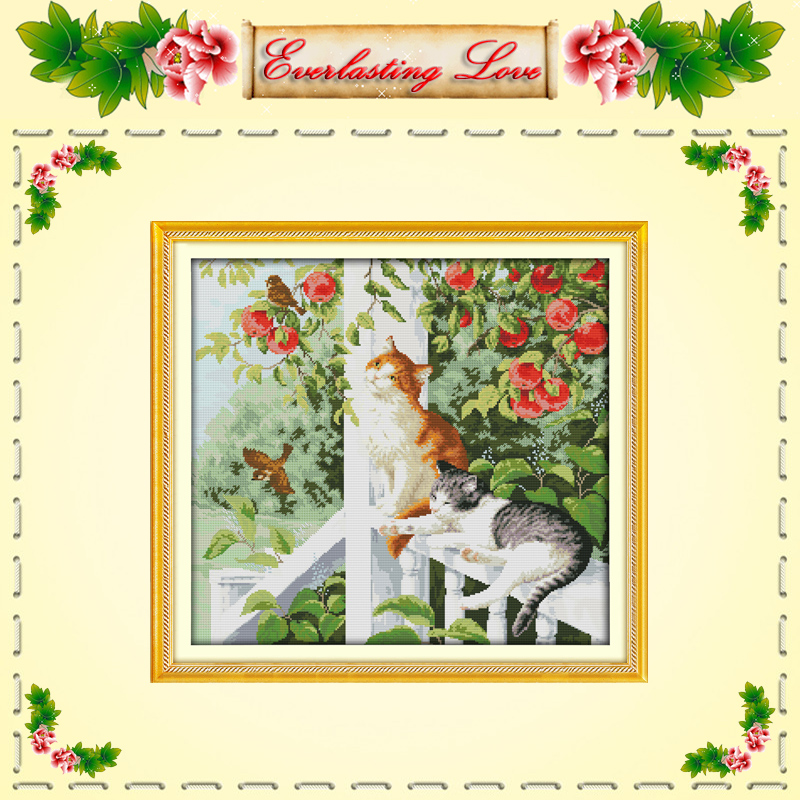 two cats lovely animals garden flower Cross stitch painting DMC 14CT 11CT counted print on fabric kits needlework embroidery Set(China (Mainland))