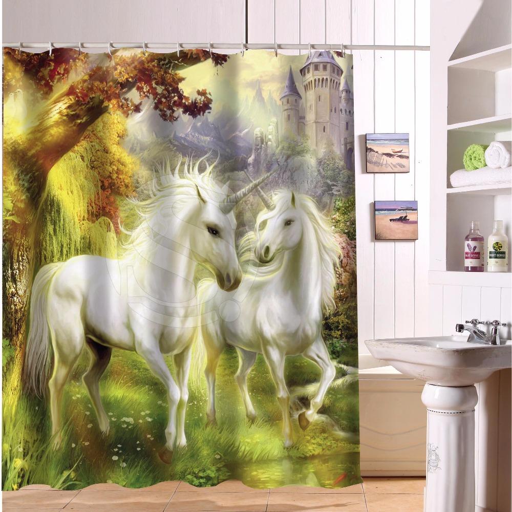 Fantasy unicorns forest custom design personalized for Fantasy shower curtains