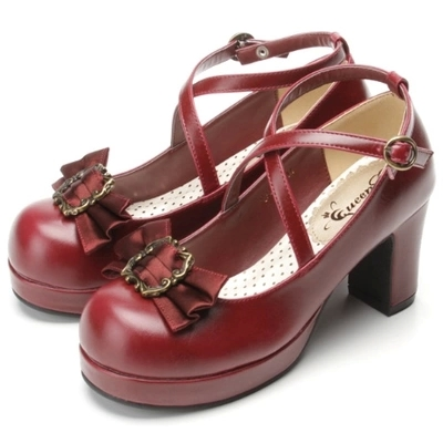 new 2015 women's shoes genuine leather platform shoes bow shoes lolita women high heel pumps(China (Mainland))
