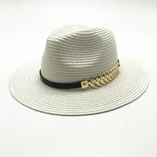 2018 nouveau été britannique ceinture Vintage Trilby plat bord chapeau de paille ombrage chapeau de soleil dame mode plage chapeau unisexe Jazz chapeau(China)