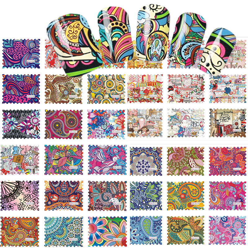 SWEET TREND 44Designs Colorful Nail Art Water Transfer Stickers Nail Tips Decals Beauty Full Cover Wraps Manicure BLE2535-2578(China (Mainland))