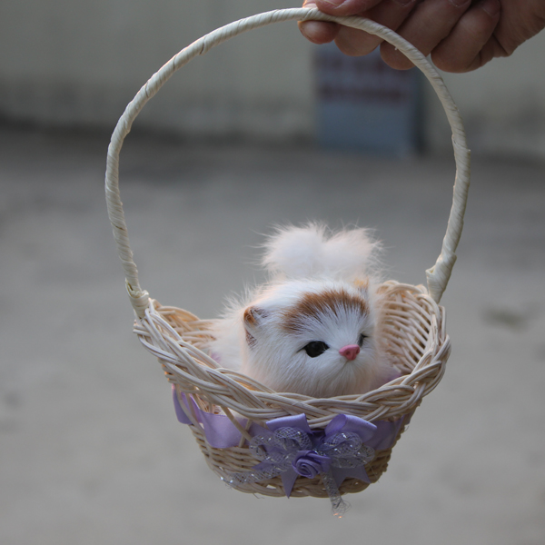 Imitated Mini Simulation Cats Cheap Toys Pet Handmade Animals With Flower Basket For Sale(China (Mainland))