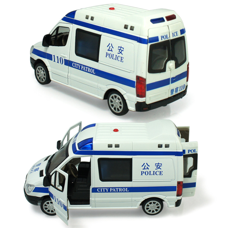 Alloy policeman car 110 ambulances 120 pull back flashing music boy car toys model 1:32 Children's toys gift collection(China (Mainland))