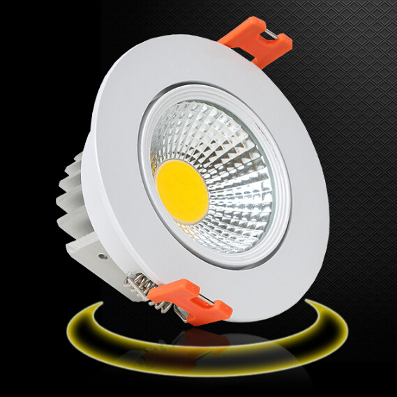 Free shipping 9W Dimmable Warm White/White/Cold White Silver/White shell COB LED Downlight Recessed LED Down Lamp AC85-265V  <br><br>Aliexpress