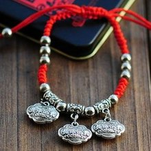 National Trend Bracelets Tibetan Silver For Lovers Red String, New Fashion Vintage Jewelry Accessories Wholesale(China (Mainland))