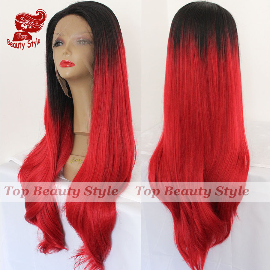 High Quality 2 Tone Black&bright Red Ombre Cosplay Wigs Natural Straight Wigs Heat Resistant Synthetic Lace Front Wigs For Women(China (Mainland))