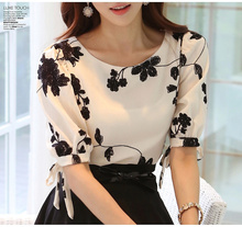 2015 Fashion Summer Ladies Vestidos Retro Flower Print Chiffon Shirt chiffon floral blouse Women short Sleeve Casual Brand Tops(China (Mainland))