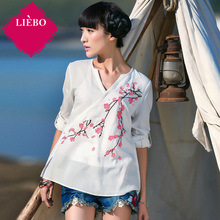 LIEBO 2016 Summer Arrival Embroidery V-neck Blouse Long Sleeve Straight Type Pullover Linen Viscose Blend Straight Type 51151967