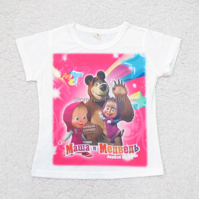 2015 бренд девочек майка маша и медведь для детей детское детей т-шир одежда с коротким рукавом чистого хлопка мультфильм майка