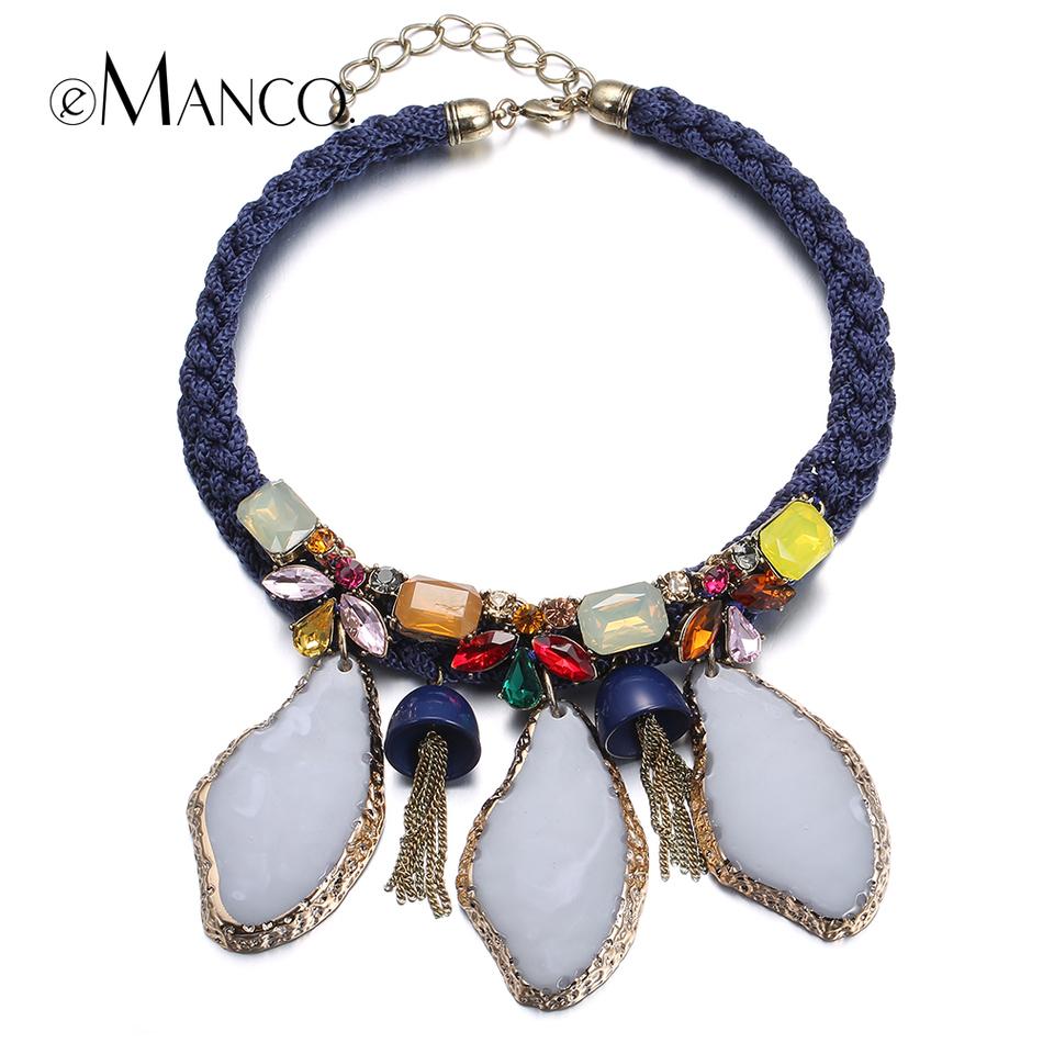 Emanco кристалл смолы колье ожерелье синий переплетения веревка геометрическая имитация камня смолаы кулон короткие ожерелья для женщин bijoux