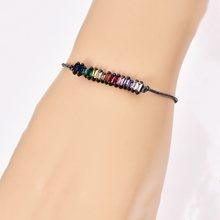 Bracelet en corde tressée mauvais œil pour femmes 2019 CZ arc-en-ciel turc noir cuivre incrusté Zircon bleu cristal Bracelet filles bijoux(China)