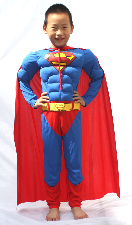 , children muscle superman costume clothes,halloween cosplay party super hero ,cape - HH Party Costume Store store