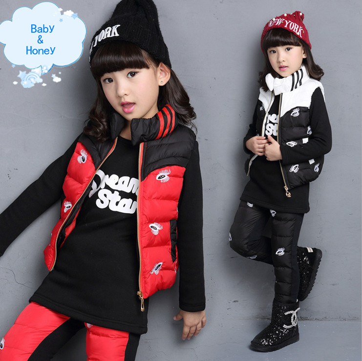 Фотография New 2015 Winter Korean Version Clothing Sets Girls Fashion Fun Eye Printing Three-piece Kids Casual Cute Roupas Para Meninas