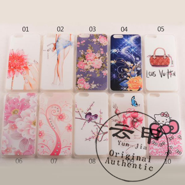 10pcs/lot for iphone 6 4.7 case,2014 new 3D Diamond Sculptural Relief Stereo cartoon Hard Case Cover for apple for iphone 6 4.7(China (Mainland))