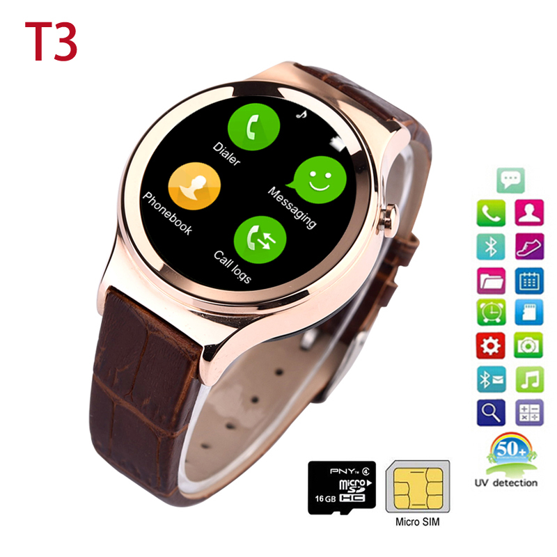 product Watch Phone T3 SmartWatch for Android IOS MP3/MP4 Player UV Detection Pedometer Sleep Tracker Android wearable Device SIM TF