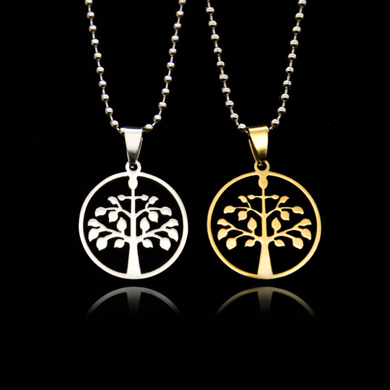 Silver Tree of Life Pendant Necklace Gold Stainless Steel jewelry Women Men Chain Necklaces & Pendants Fashion Colar Collares(China (Mainland))