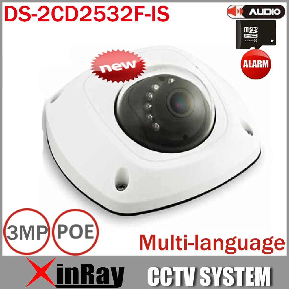 Mini IP POE Camera DS-2CD2532F-IS Full HD 1080P Mic Built in Audio IP Dome CCTV Security Camera Without Wifi(China (Mainland))