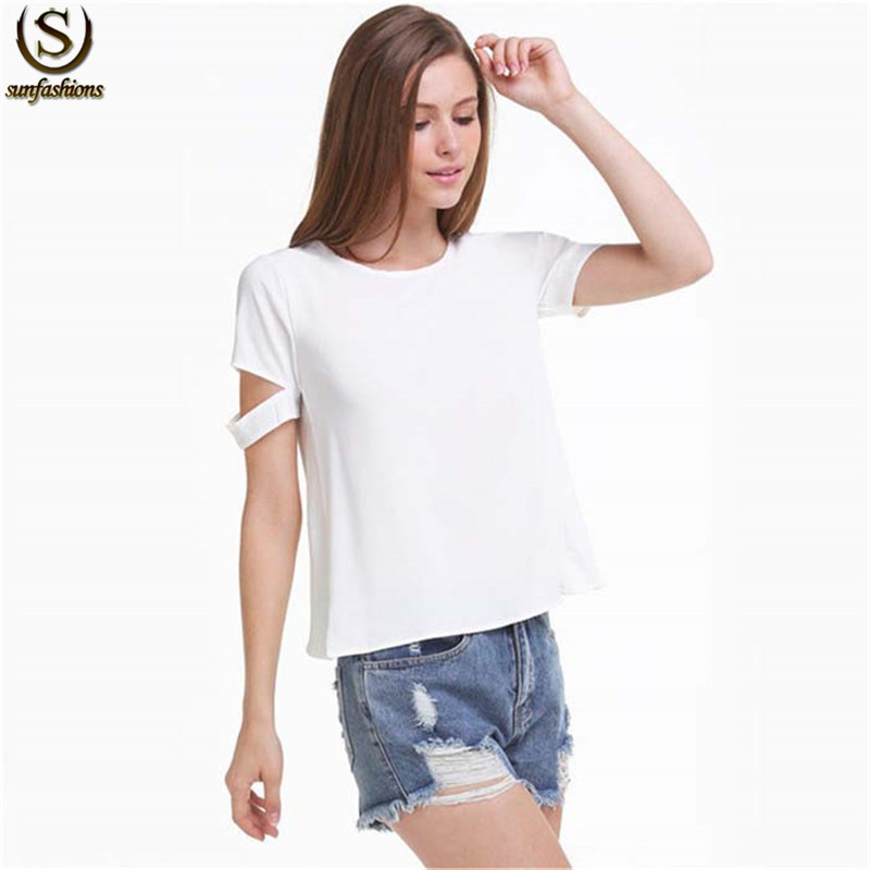 2015 Fall Fashion Women Korean Style Clothing Brand New Cheap Clothes Casual White Short Sleeve Cut Out Chiffon Blouse(China (Mainland))