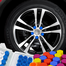 20pcs/set Universal red blue green yellow purple Wheel Nuts Covers Lugs Nuts Protective 21/19/17mm for option 5 color(China (Mainland))