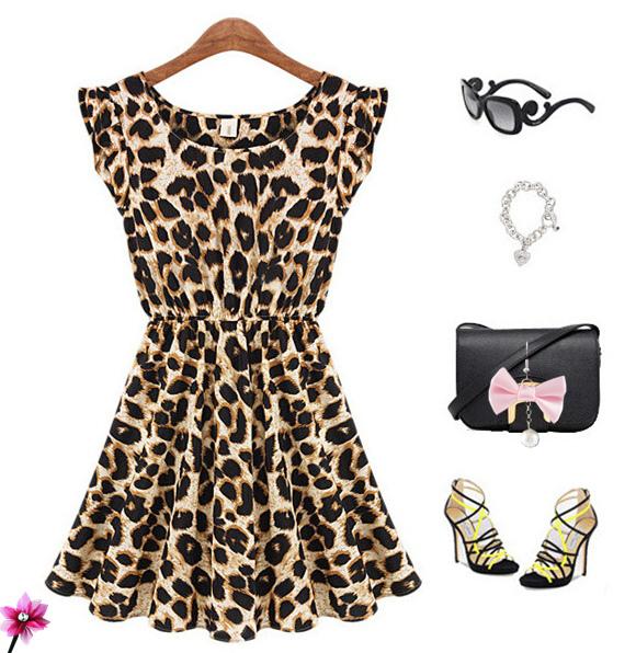 European high-end women's ice silk waist sleeveless summer dress Leopard sexy elastic Leopard(China (Mainland))