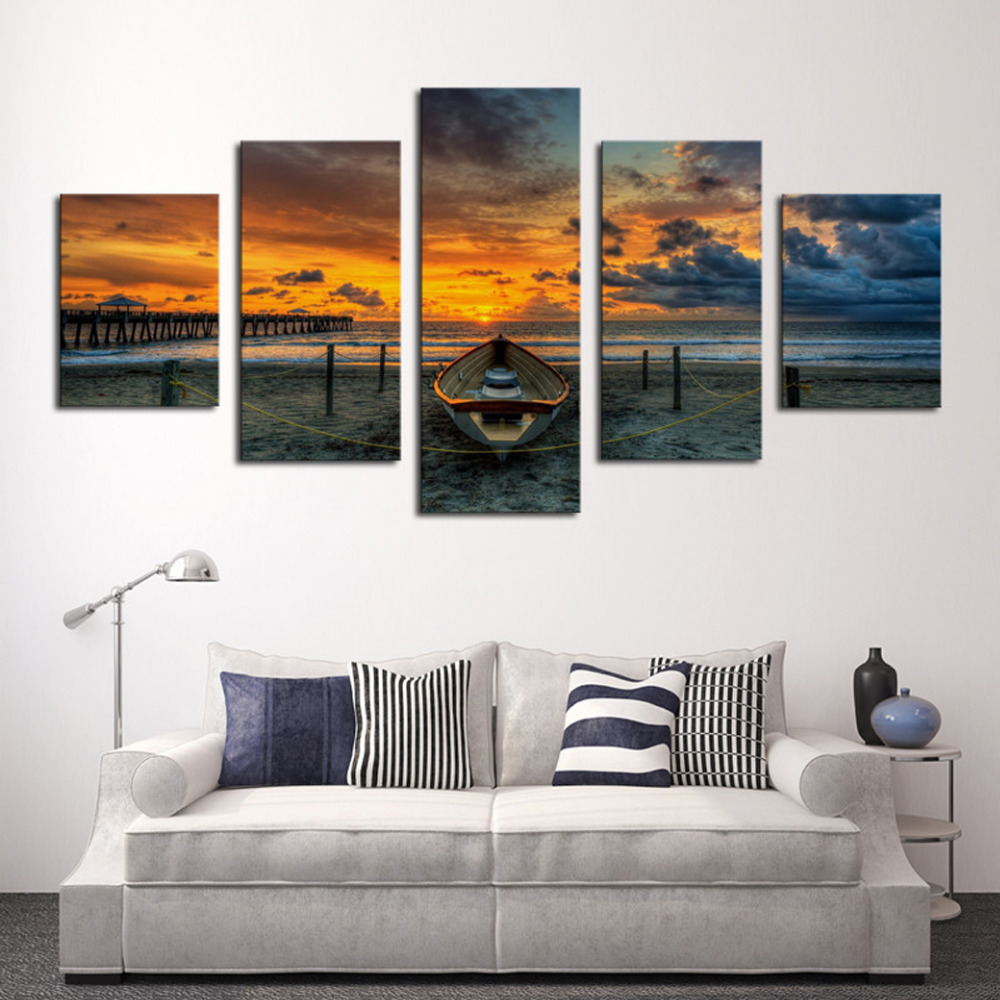 5 Panels Canvas Print Buddha Painting On Canvas Wall Art Picture Home Decor Fiv042 In Painting
