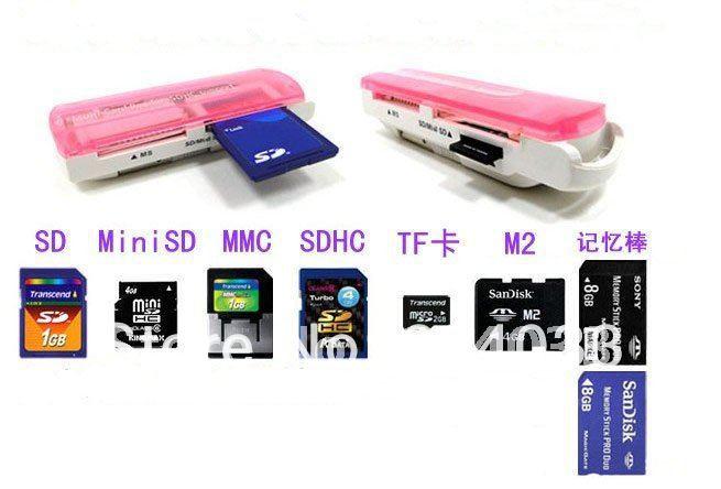 5pcs USB 2.0 all in 1 Memory Stick Multi Card Reader RS-MMC MS SD TF MMC SDHC MiniSD XD Card for Win XP 7 8 Vista Mac OS(China (Mainland))