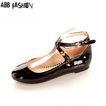 Cross Bandage Flats Women Ankle Strap Summer Flat Shoes Ladies Buckle Strap Round Toe Patent Leather Shoes Plus Size 30- 47(China (Mainland))