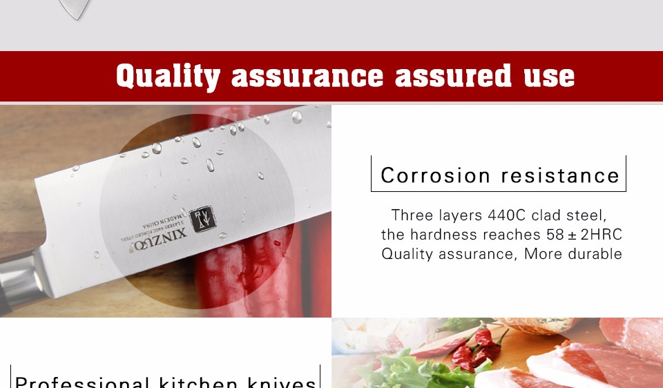 Buy XINZUO 7 inch santoku knife three layer 440C clad steel kitchen knife very sharp Japanese chef knife kitchen tool free shipping cheap