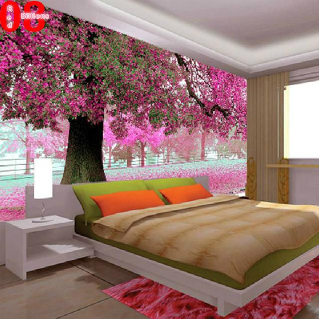 Mural tv fond mur papier peint peinture abstraite à lhuile paysage ...